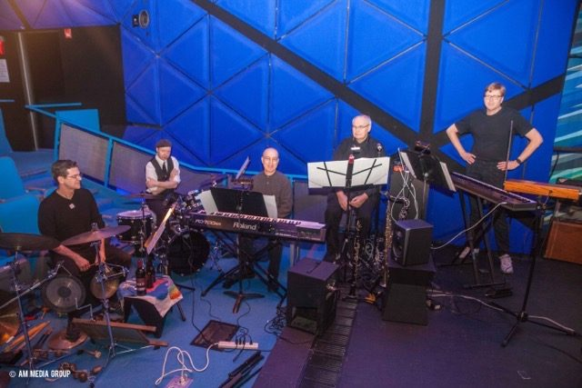 The World's Greatest Silent Film Band, seen at the Museum of the Moving Image in Astoria, Queens. From the left: John Mettam, percussion; Mattias Olsson, drum set; Donald Sosin, keyboard; Charles Tokarz, flute/clarinet/sax; John M. Davis, keyboard/theremin/accordion